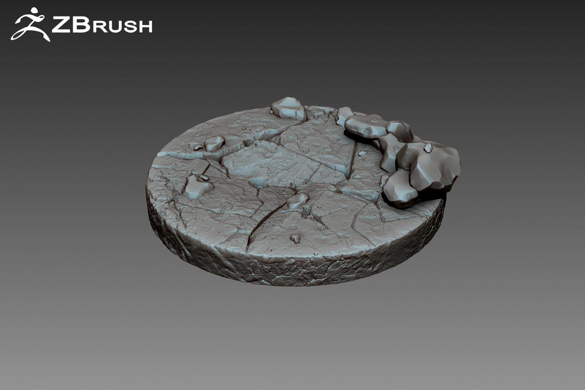 3d obj stone pedestal zbrush
