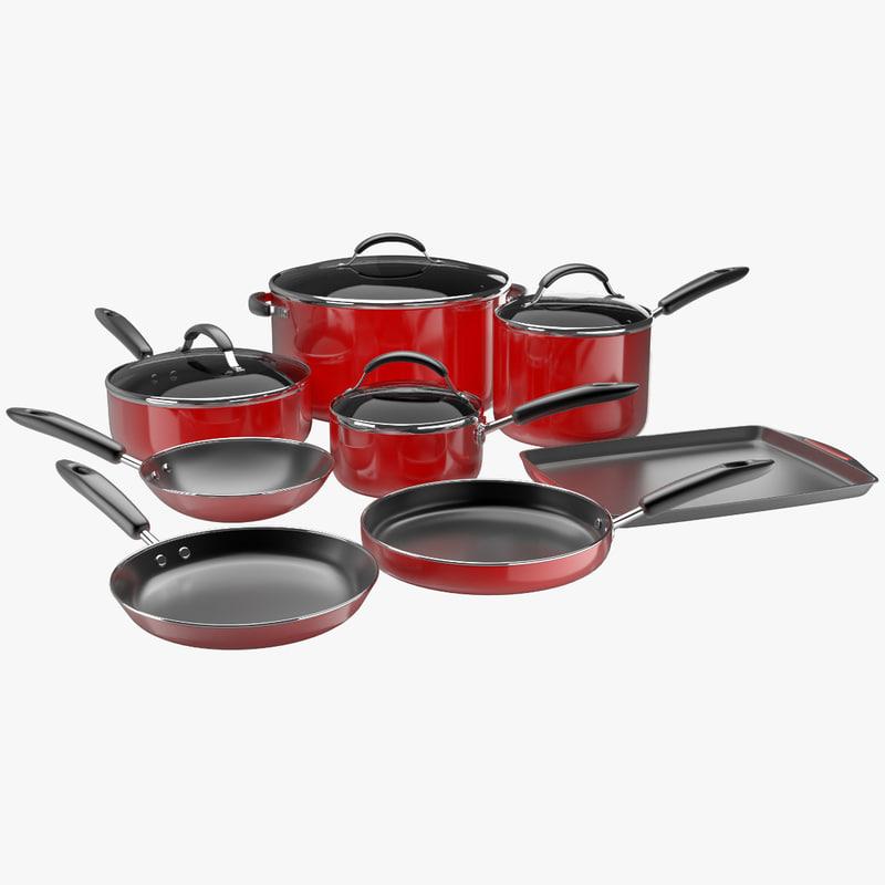 pan pots tray 3d model