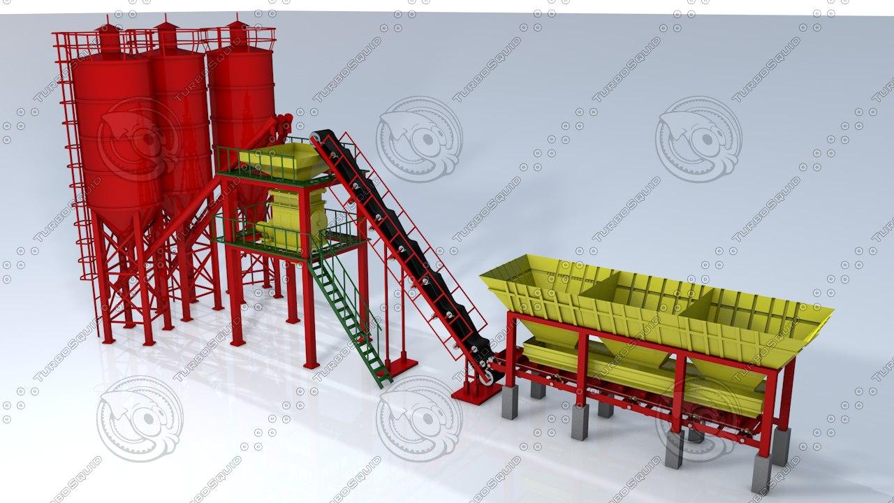 3d model plant production cement factory
