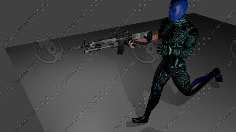 machinegun rigged 3d model