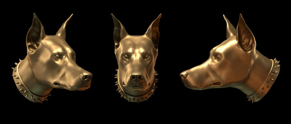 doberman head 3d model