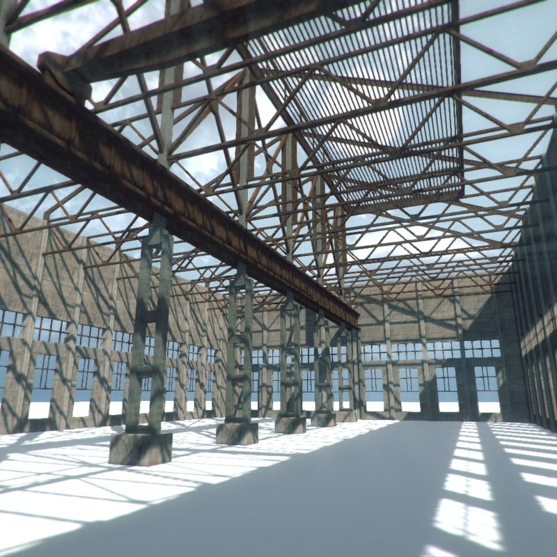 3d model unfinished industrial building