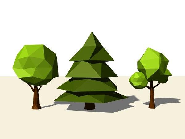 3d stylized trees model