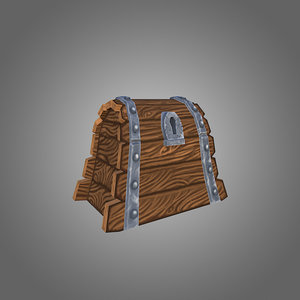 low-poly wooden chest 3d 3ds