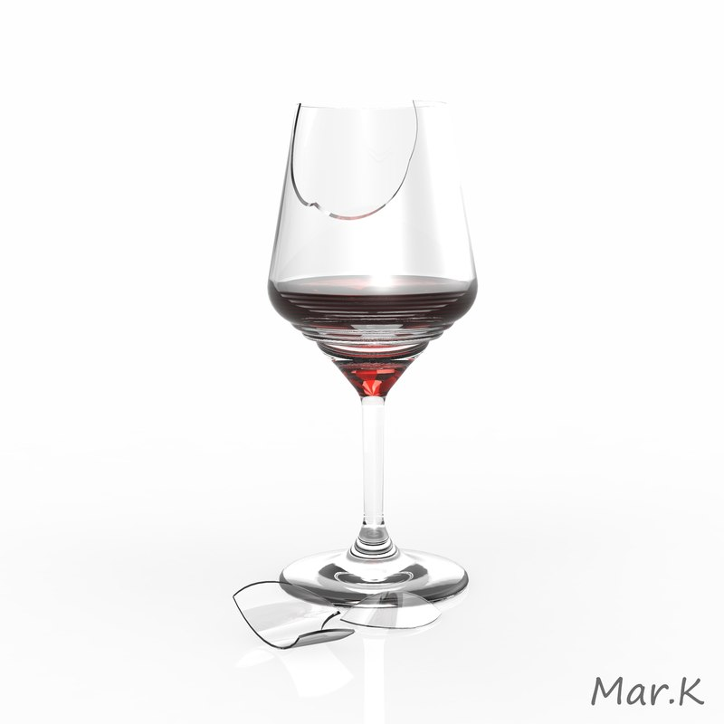 broken wine glass 3d 3ds