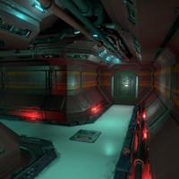 3d model sci fi corridor kit