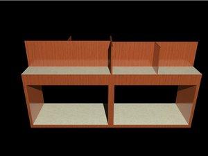 3d model counter wood