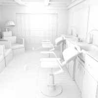 interior barber shop 3d model