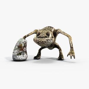 3d stone creature