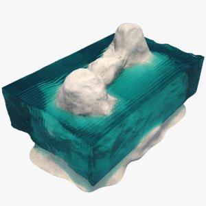 glass concrete table 3d max