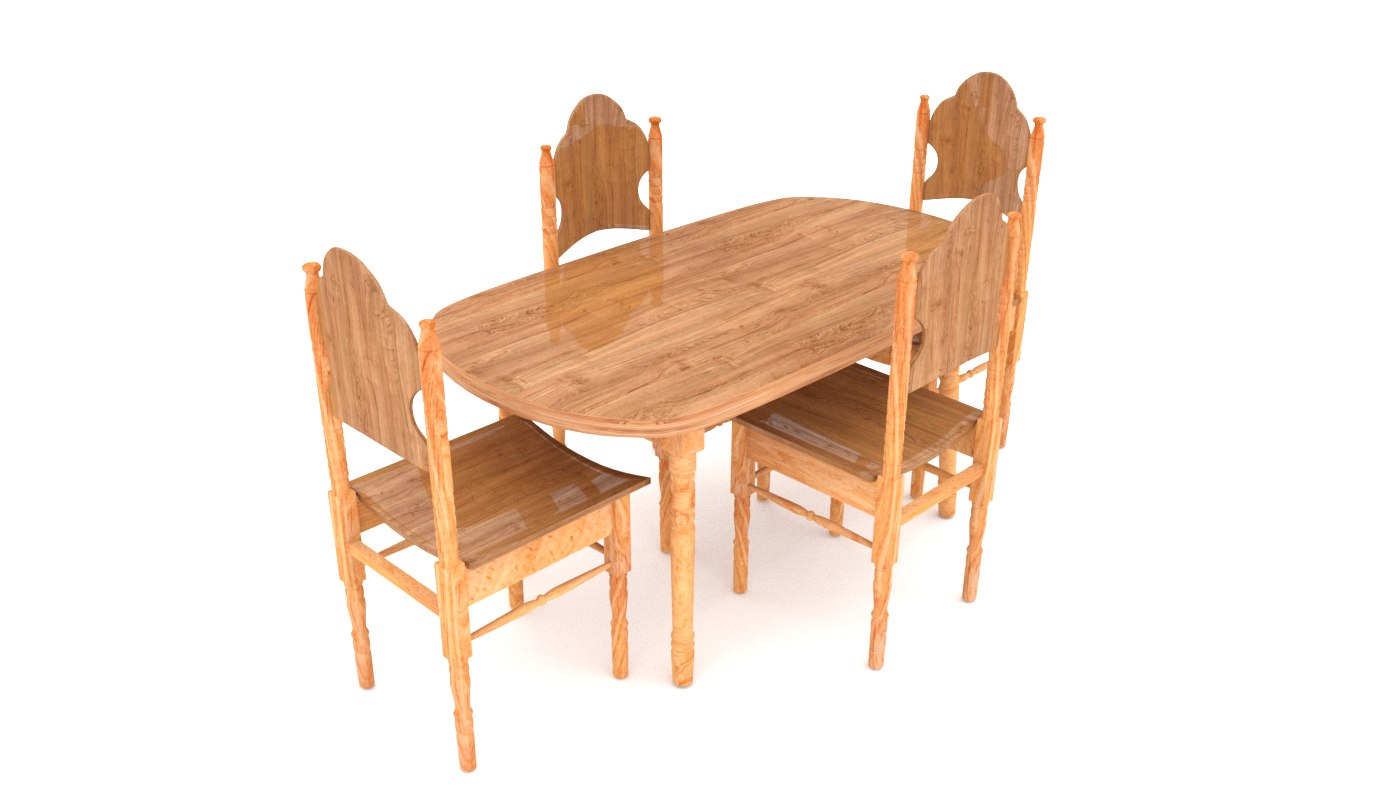 3d model of dining table chair wood