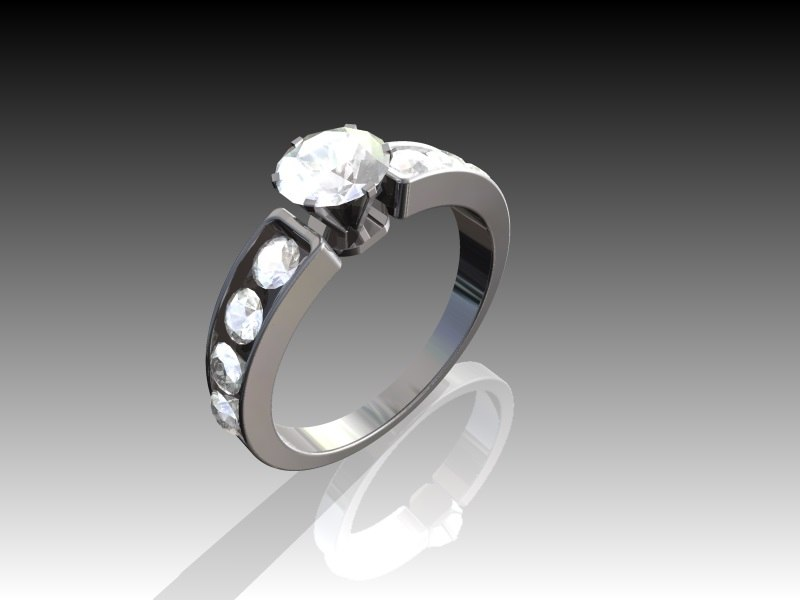gold wedding ring diamond 3d model
