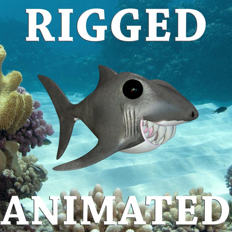 funny shark toon rigged character max