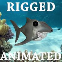 Funny Cartoon Shark Rigged-Animated