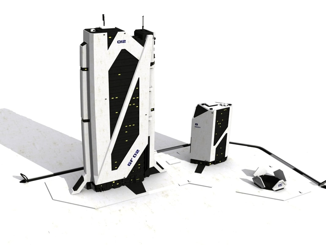 scyscaper sci-fi white 02 3d model
