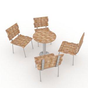 3d wood garden furniture model