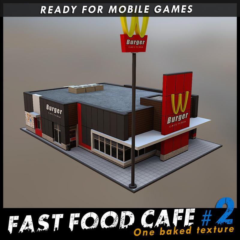 fast food cafe 3d model