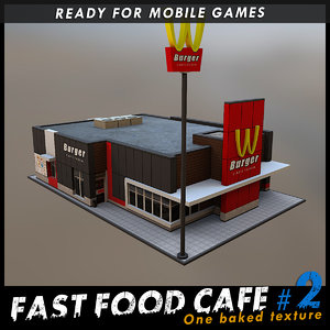 fast food cafe 3d model