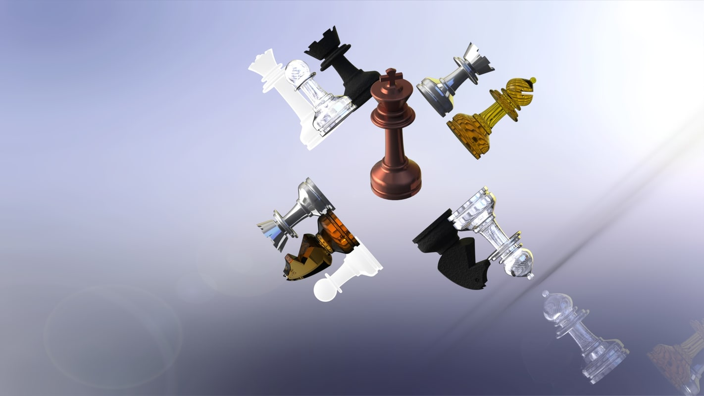 3d staunton-style chess set