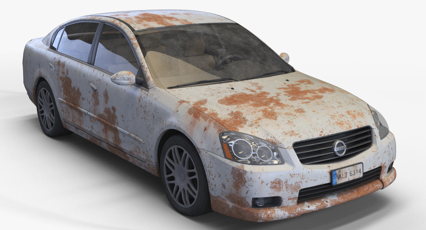 realistic old rusty sedan obj