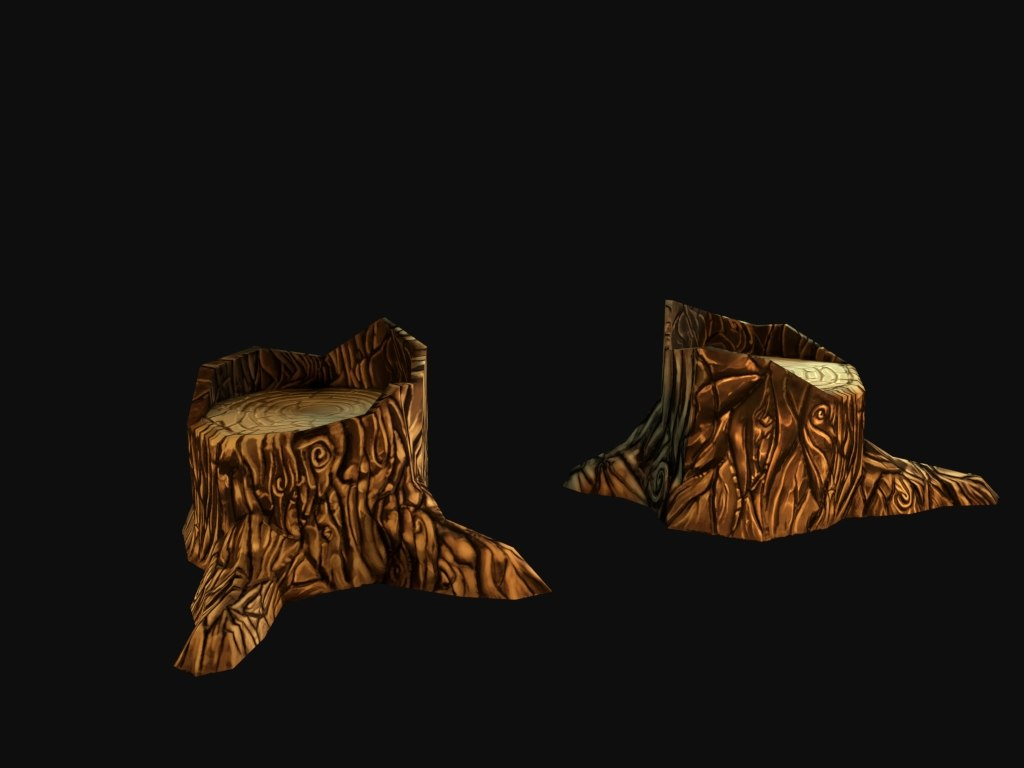 hand painted tree stump 3d model