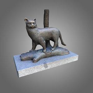 3d low-poly cat statue