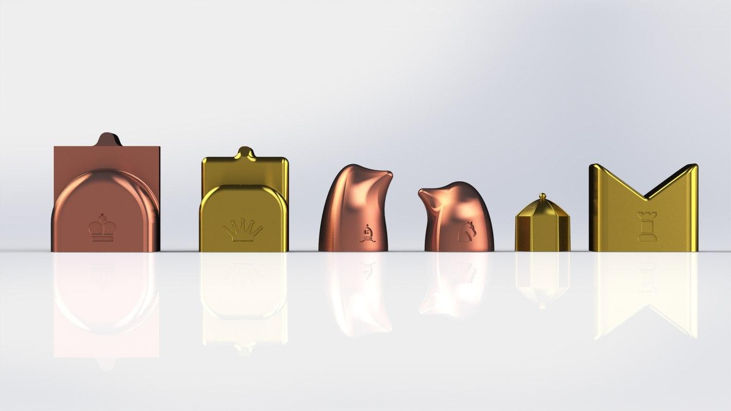 chess set modern symbols 3d 3ds
