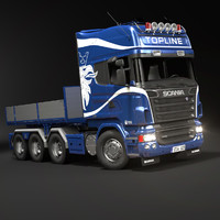 3d scania r730 flatbed truck model