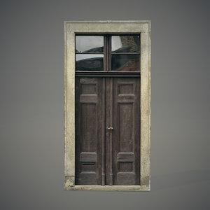 3d old wooden door model