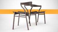 scandinavian wood dining room 3d model