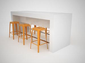 3d model counter metal bar stools