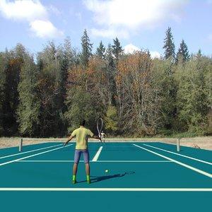 2 men playing tennis x