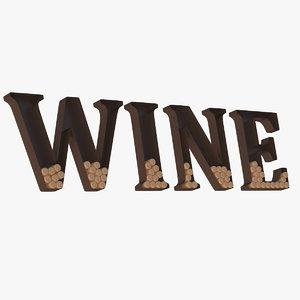 3d wall art wine model