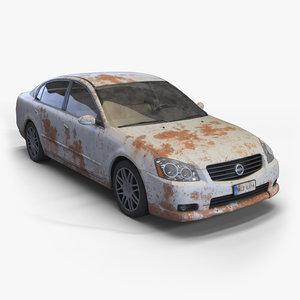realistic old rusty sedan obj