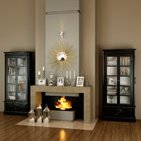 modern stone fireplace set 3d model