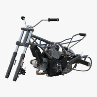 Motorcycle Engine and Frame 3D Model