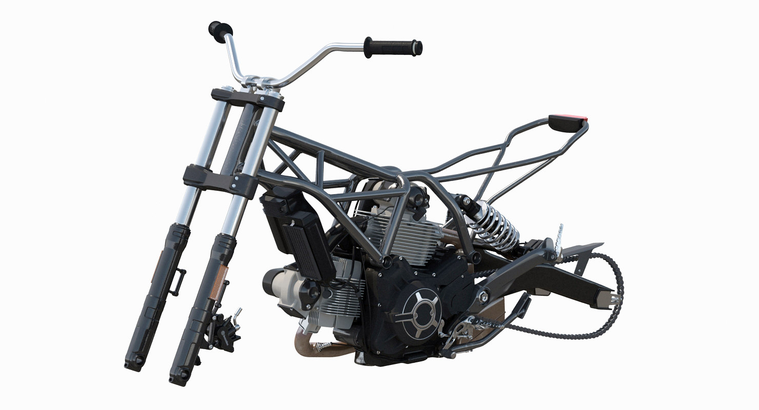 3d motorcycle engine frame model