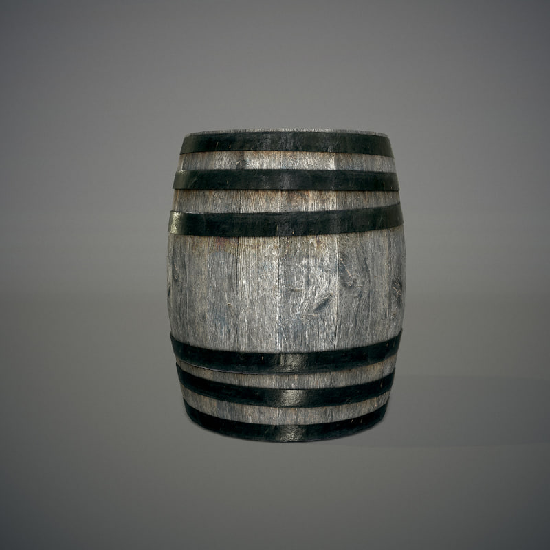 3dsmax old wooden barrel