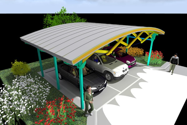 parkings canopy metal wood 3d model