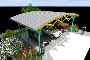 parkings canopy metal wood 3d model
