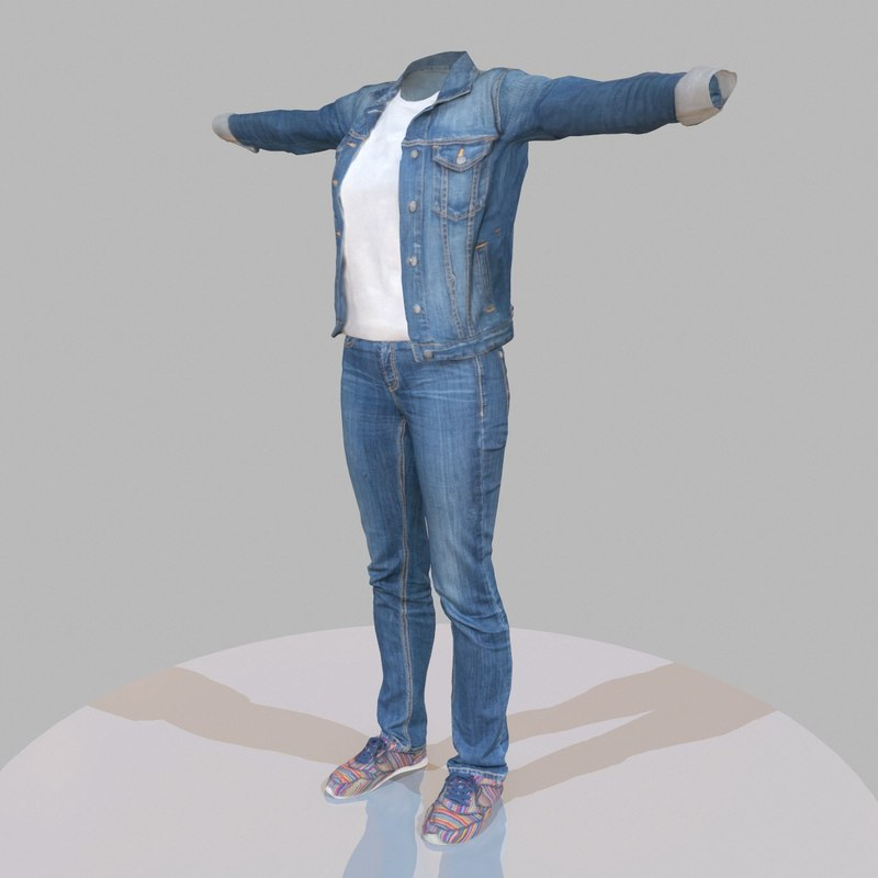 3d model of female jeans outfit