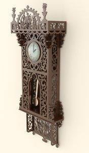 3d wooden clock