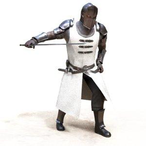 3d model of crusader rigged sword