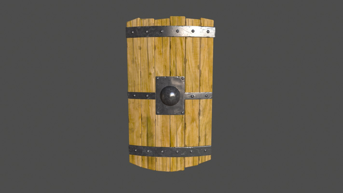 3d obj wooden shield