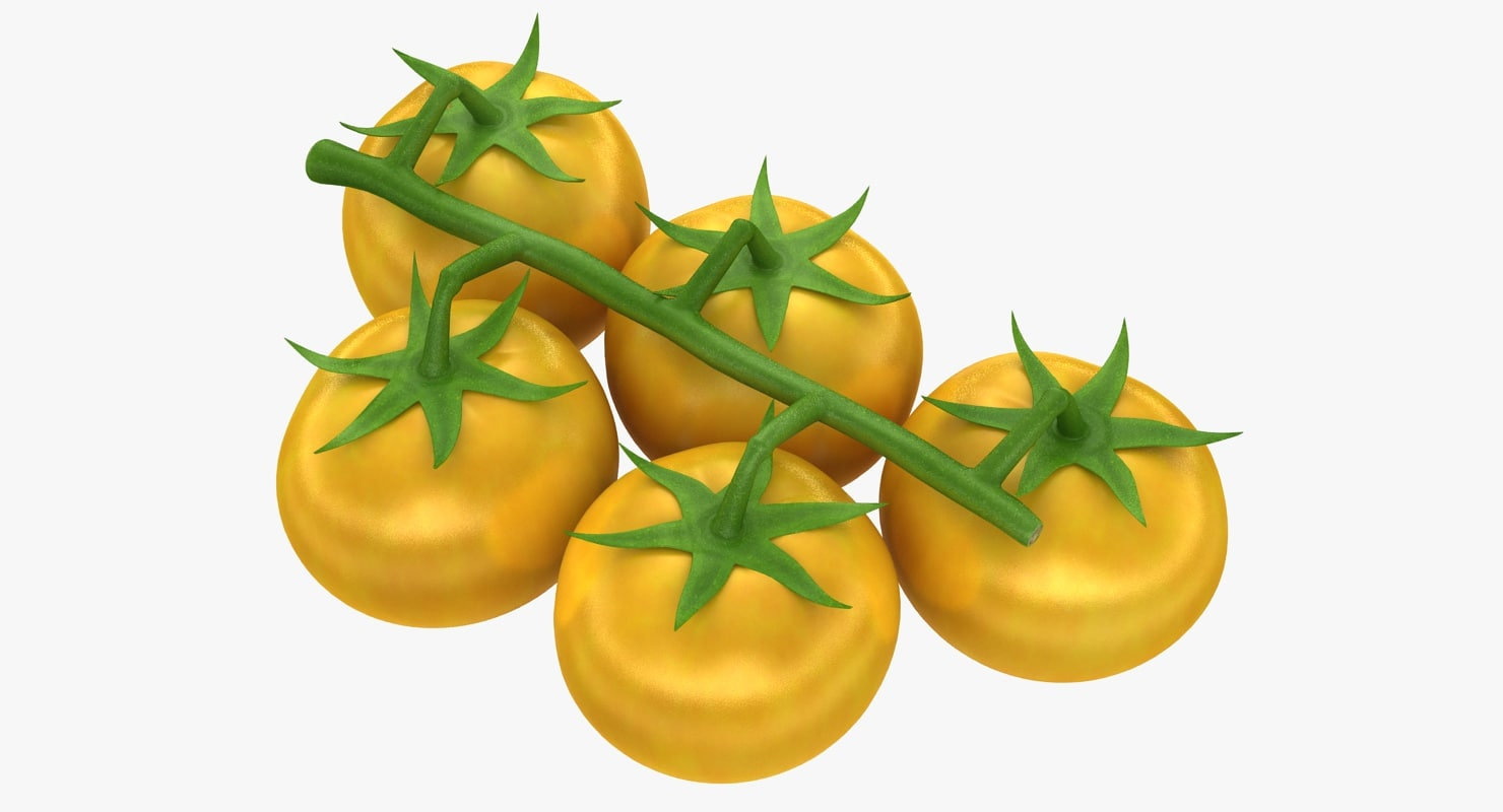 3d model realistic cherry tomatoes yellow