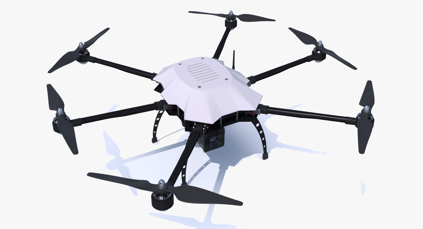 3d generic drone hexacopter copter model