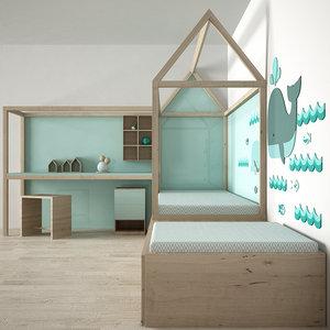 decorative bedroom 3d obj