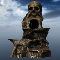 3d rock mountains skull