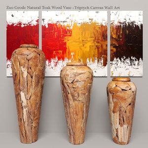 3d zuo teak wood vase model