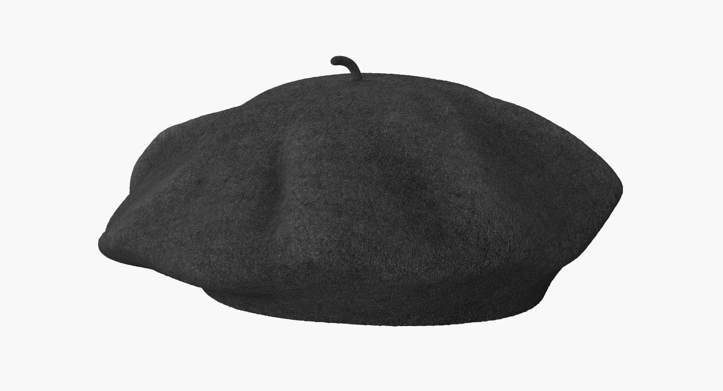 wool classic beret hat 3d 3ds